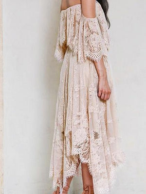 Beige Off Shoulder Asymmetric Hem Flare Sleeve Lace Midi Dress