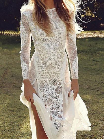 White Chiffon Panel Long Sleeve Women Lace Maxi Dress