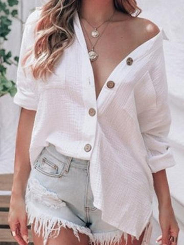 White Cotton Button Placket Front Long Sleeve Women Shirt