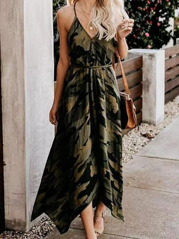 Green V-neck Camouflage Print Open Back Cami Midi Dress