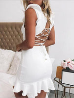 White V-neck Lace Up Back Ruffle Trim Sleeveless Mini Dress