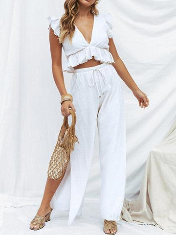 White Plunge Ruffle Trim Crop Top And High Waist Wide Leg Pants