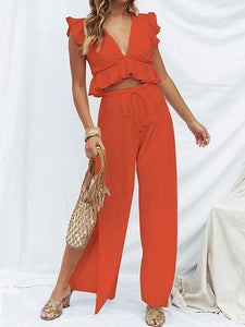 Red Plunge Ruffle Trim Crop Top And High Waist Wide Leg Pants