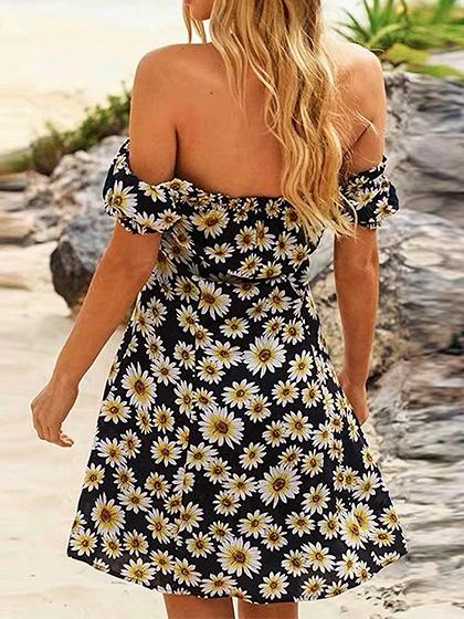 Black Off Shoulder Daisy Print Button Placket Front Mini Dress