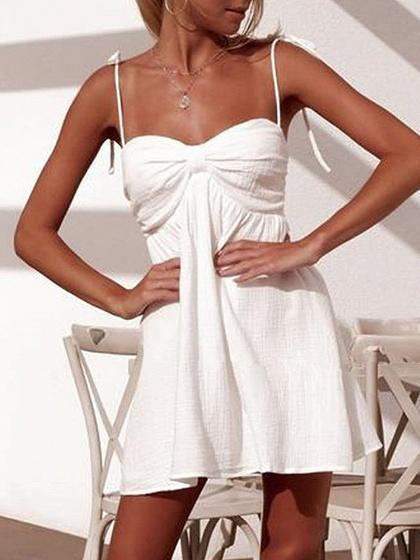White Knot Front Ruched Detail Cami Mini Dress