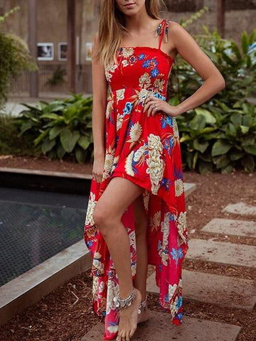 Red Chiffon Floral Print Asymmetric Hem Cami Maxi Dress