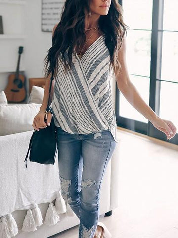 Blue Stripe Cotton Blend V-neck Cami Top