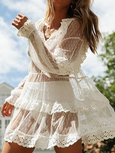 White V-neck Lace Trim Puff Sleeve Sheer Mesh Mini Dress