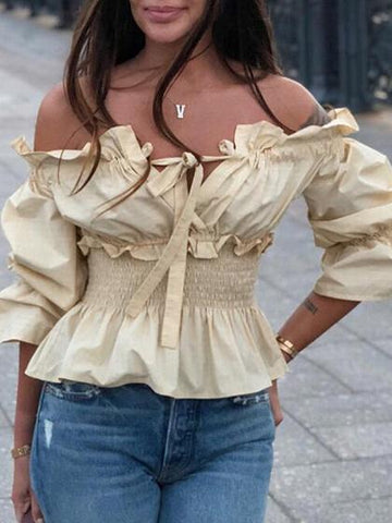 Yellow Off Shoulder Ruffle Trim Puff Sleeve Blouse