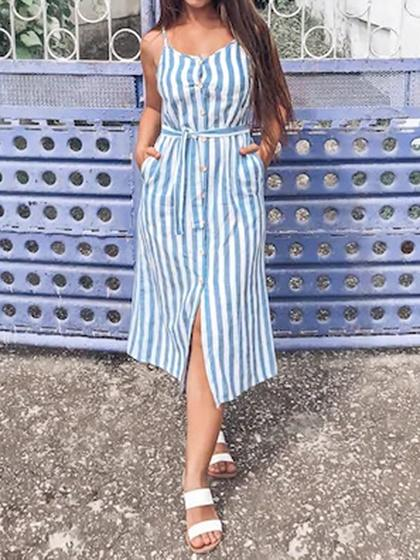 Blue Stripe Button Placket Front Tie Waist Cami Midi Dress