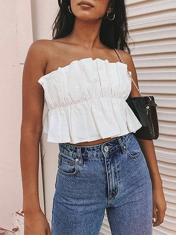 White Bandeau Ruffle Trim Crop Top