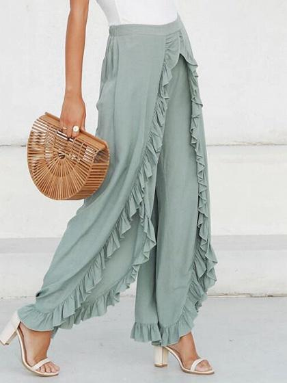 Green High Waist Ruffle Trim Wide Leg Pants