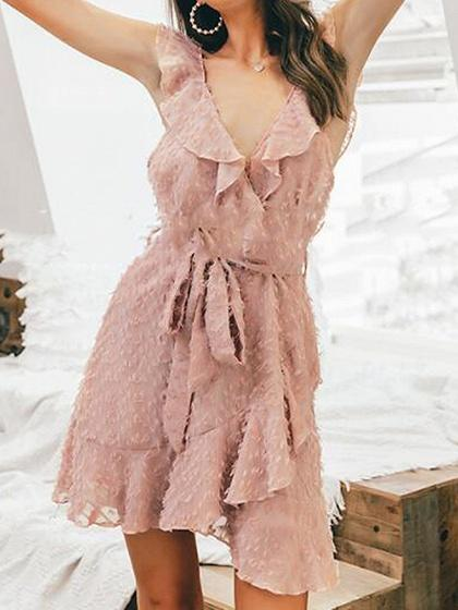 Pink V-neck Tie Waist Ruffle Trim Open Back Cami Mini Dress