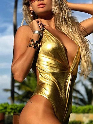 Golden Plunge Knot Front Open Back Swimsuit