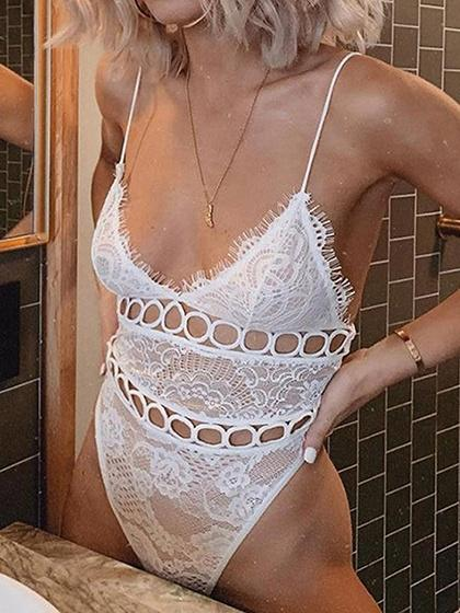 White Spaghetti Strap Plunge Cut Out Detail Open Back Bodysuit
