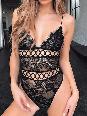 Black Spaghetti Strap Plunge Cut Out Detail Open Back Bodysuit