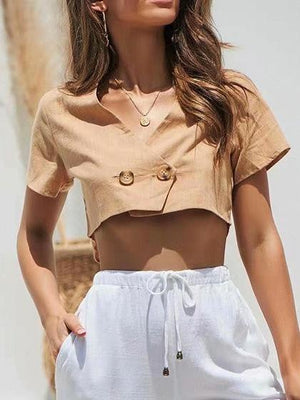 Yellow V-neck Button Front Crop Top