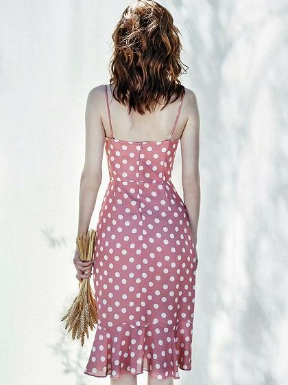 Red Polka Dot Print Ruffle Hem Cami Midi Dress