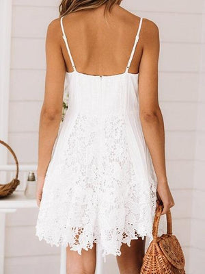 White V-neck Lace Panel Cami Mini Dress