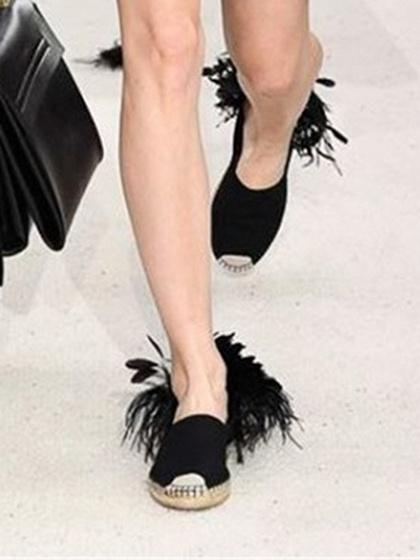 820e550892ae5 Black Feather Embellished Flat Sandals – chiclookcloset