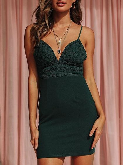 Dark Green Plunge Lace Panel Open Back Cami Mini Dress
