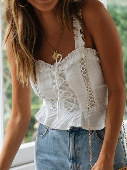 White Lace Up Front Ruffle Trim Crop Tank Top