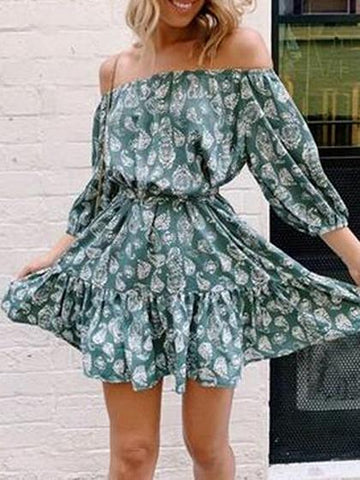 Green Off Shoulder Floral Print Ruffle Hem Puff Sleeve Mini Dress