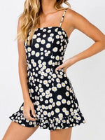 Black Daisy Print Ruffle Hem Cami Mini Dress
