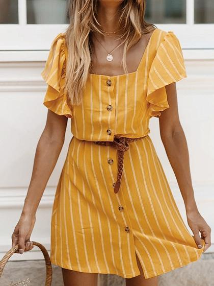 Yellow Stripe Square Neck Ruffle Sleeve Mini Dress