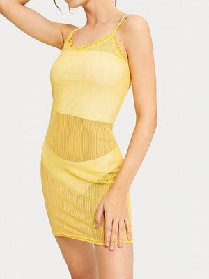 Light Yellow V-neck Frill Trim Lace Cami Mini Dress