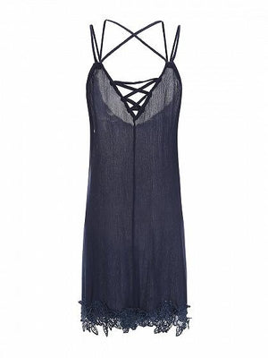 Blue V-neck Lace Up Front Lace Panel Cami Mini Dress