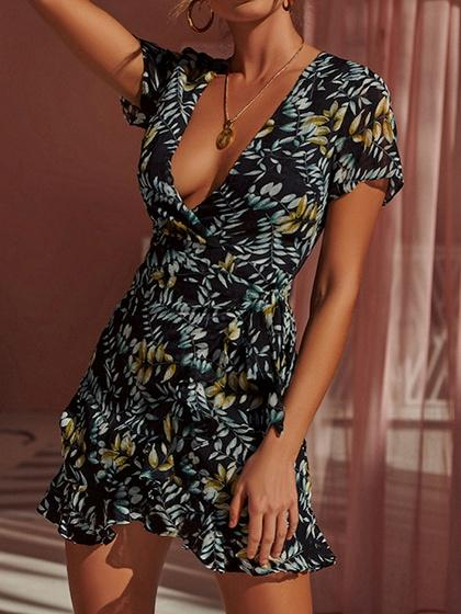 Black Plunge Floral Print Ruffle Hem Mini Dress