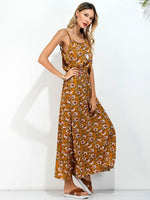 Multicolor Floral Printed Elastic Waist Cut Out Back Spaghetti Strap Cami Maxi Beach Dress