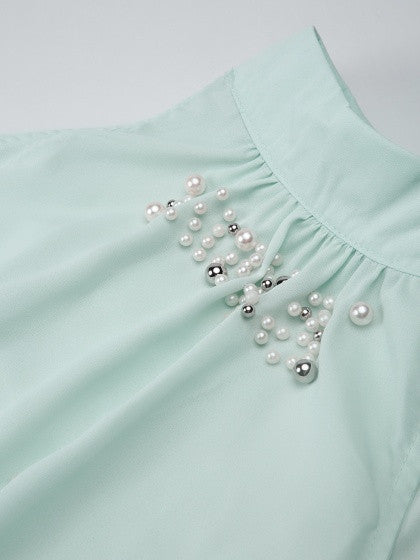 Green Halter Beads Embellished Knot Tie Back Vest Top