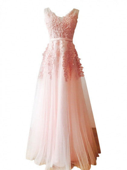Pink V-neck Embroidery Backless Tulle Maxi Prom Party Dress
