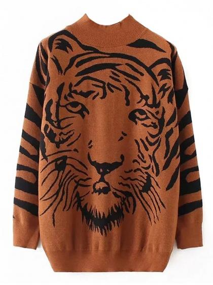 Brown Tiger Pattern Long Sleeve Knit Sweater