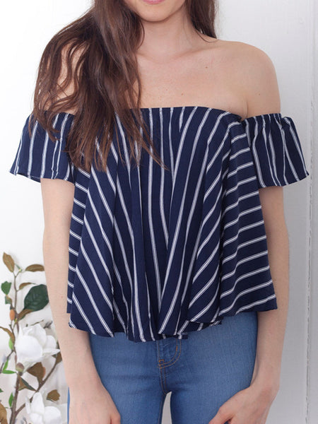 Navy Stripe Off Shoulder Blouse Top