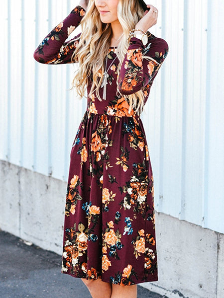 Burgundy Floral Long Sleeve Midi Dress