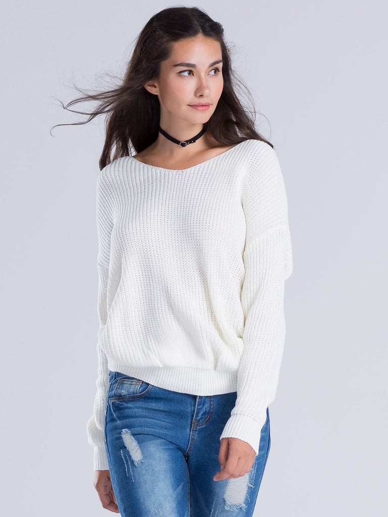 956cad67dc7498 V-neck Knot Twisted Back Long Sleeve Sweater – chiclookcloset