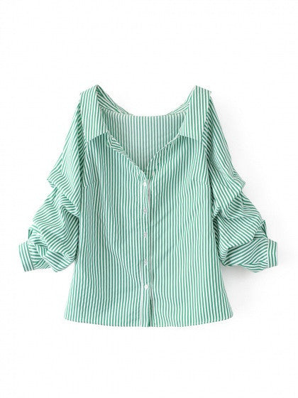 Green Stripe Pointed Collar V Front Puff Sleeve Shirt Top