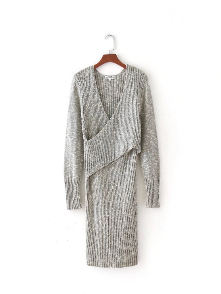 Gray V-neck Cross Front Long Sleeve Knit Dress