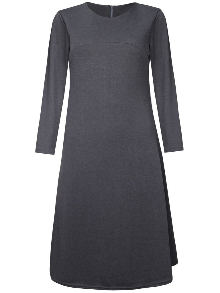 Gray Round Neck Long Sleeve A-line Dress
