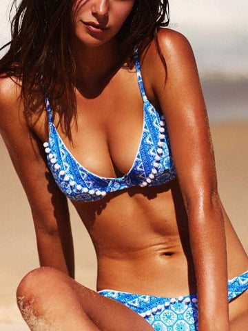 Blue Tribal Pattern Pom Pom Triangle Bikini Top And Bottom