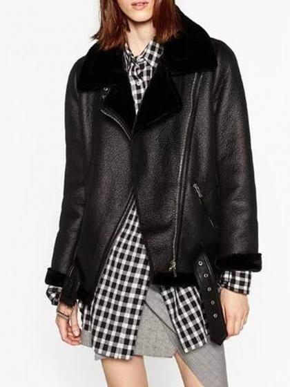 Black Lapel Faux Shearling Biker Jacket