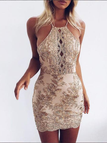 Golden Embroidery Lace Halter Cross Spaghetti Strap Back Mini Bodycon Dress