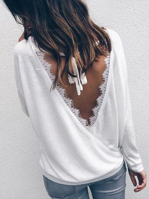 White Tie Back Long Sleeve T-shirt