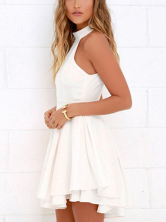 d0288e8e59ce ... White Halter Cut Out Back Double Layer Pleated Skater Dress ...