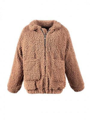 Khaki Lapel Long Sleeve Faux Shearling Coat