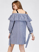 Blue Plaid Off Shoulder Ruffle Tie Sleeve Shift Mini Dress