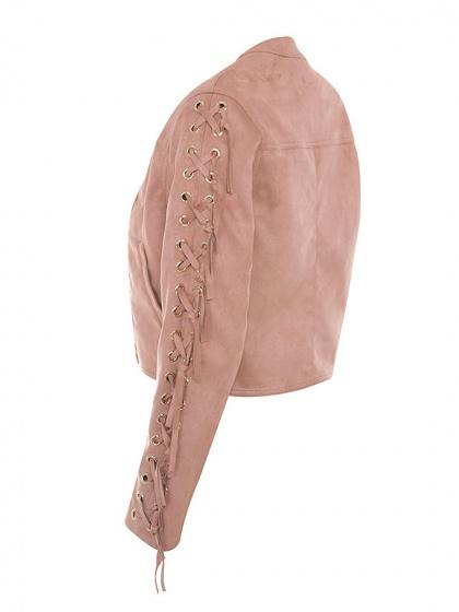 Pink Faux Suede Eyelet Lace Up Sleeve Open Front Jacket